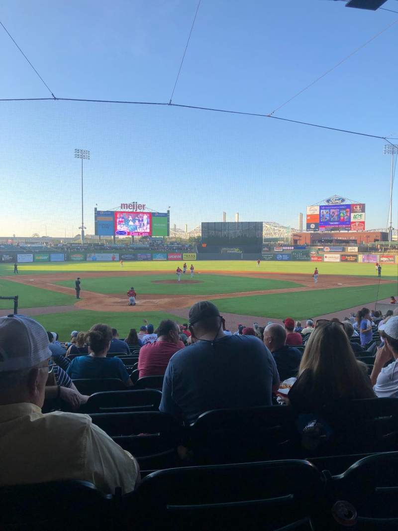 Seating view for Louisville Slugger Field Section 114 Row V Seat 9
