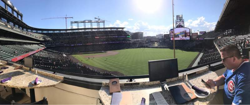Seating view for Coors Field Section Mountain Ranch Club Row 1 Seat 1