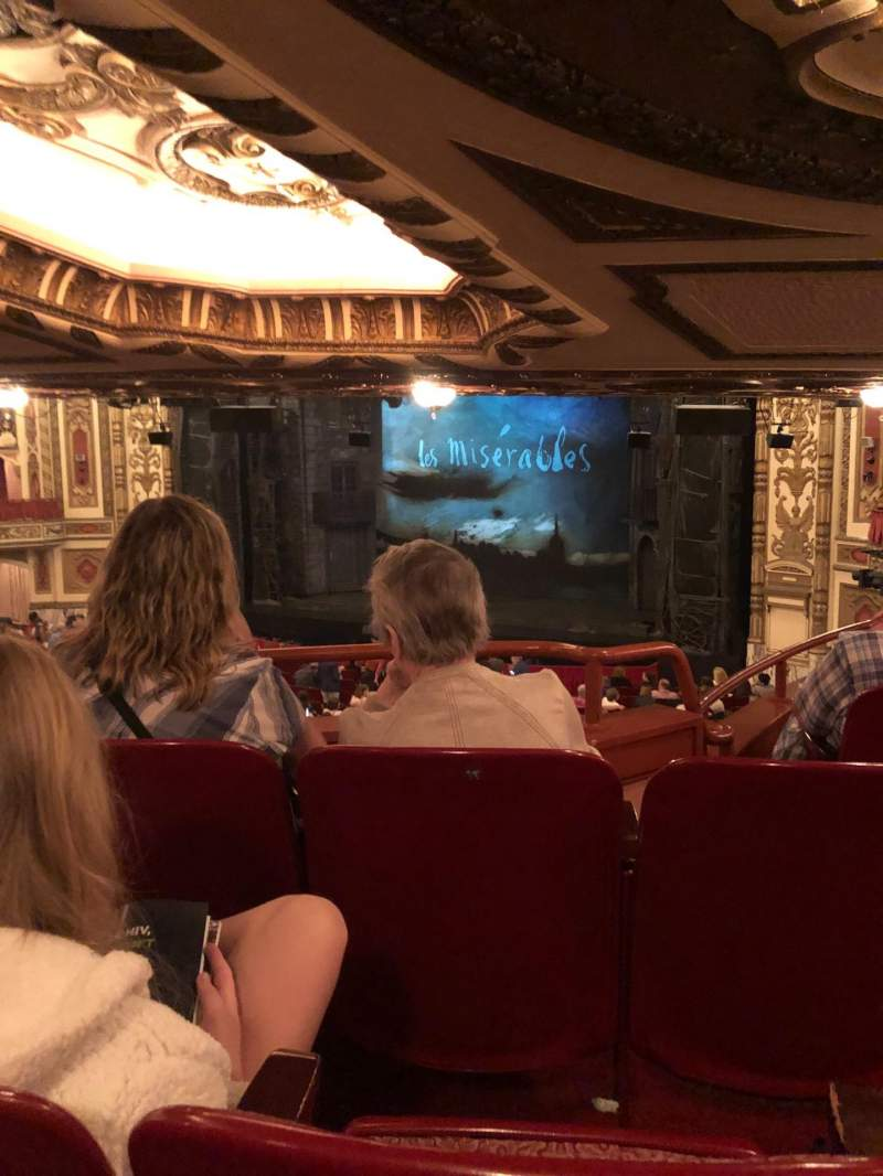 Seating view for Cadillac Palace Theater Section Dress Circle FR Row NN Seat 14