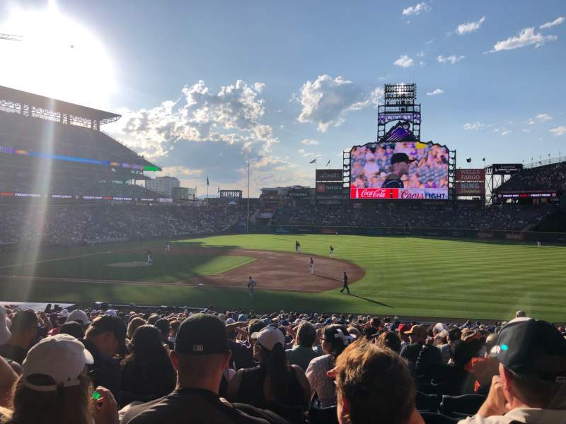 Seating view for Coors field Section 120 Row 33 Seat 7