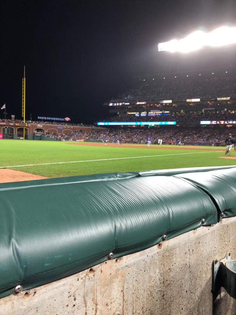 Seating view for Oracle Park Section 129 Row 1 Seat 7