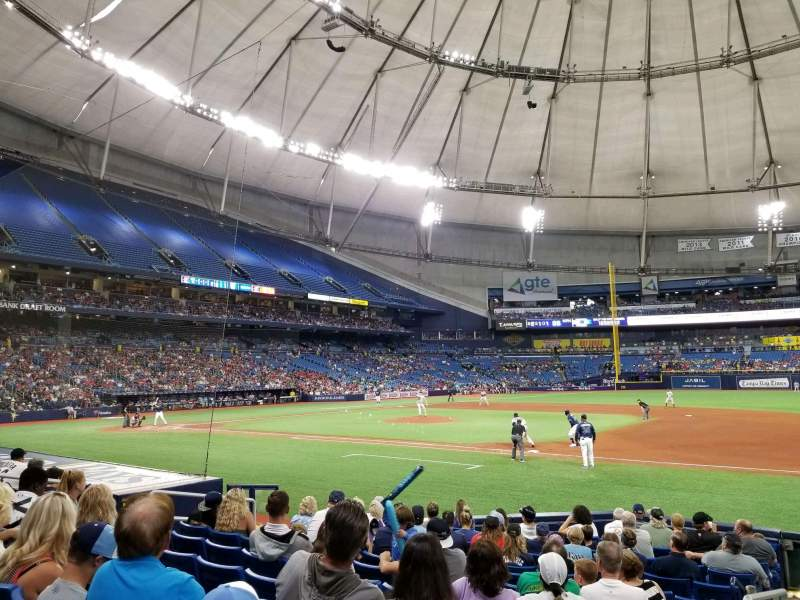 Seating view for Tropicana Field Section 122 Row Q Seat 1
