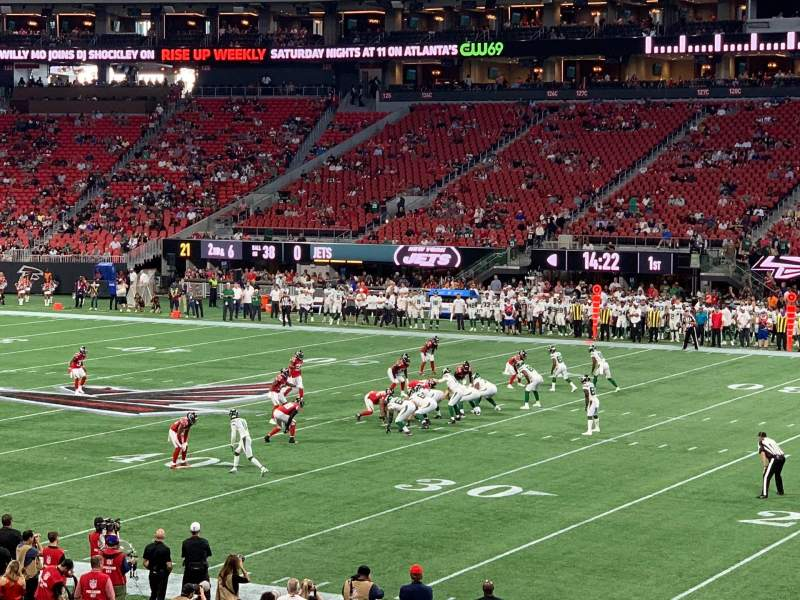 Seating view for Mercedes-Benz Stadium Section 107 Row 22 Seat 5