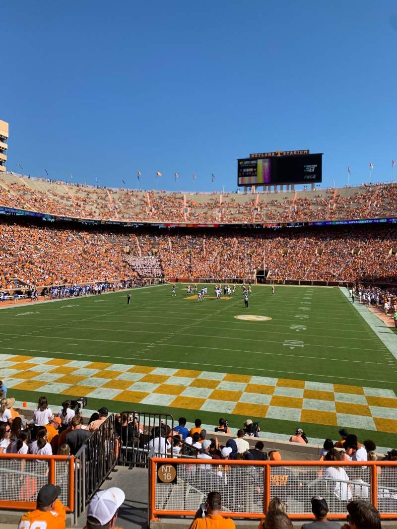 Seating view for Neyland Stadium Section Y6 Row 9 Seat 9