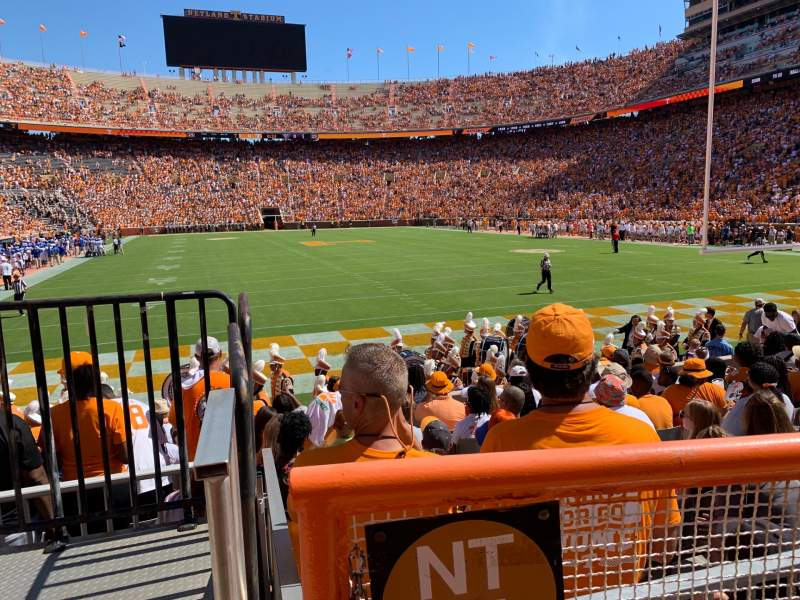 Seating view for Neyland Stadium Section Y10 Row 1 Seat 9