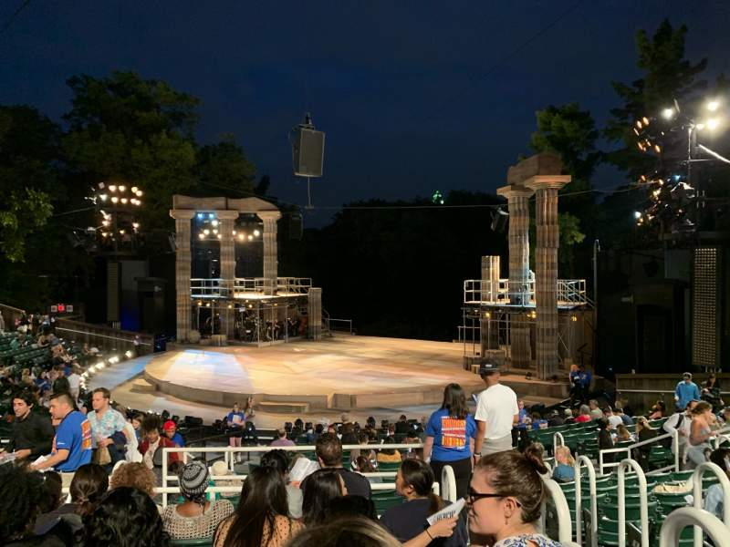 Seating view for The Delacorte Theater in Central Park Section H Row S Seat 802