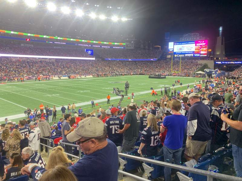 Seating view for Gillette Stadium Section 115 Row 20 Seat 3