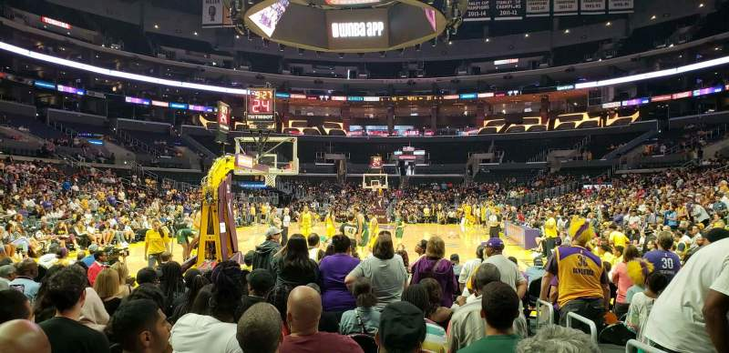 Seating view for Staples Center Section 106 Row L Seat 1