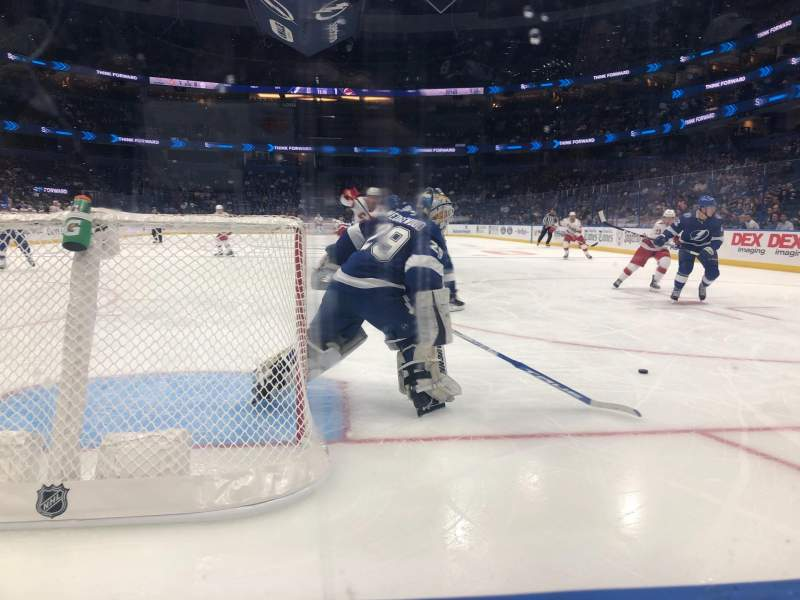 Seating view for Amalie Arena Section 123 Row A Seat 10