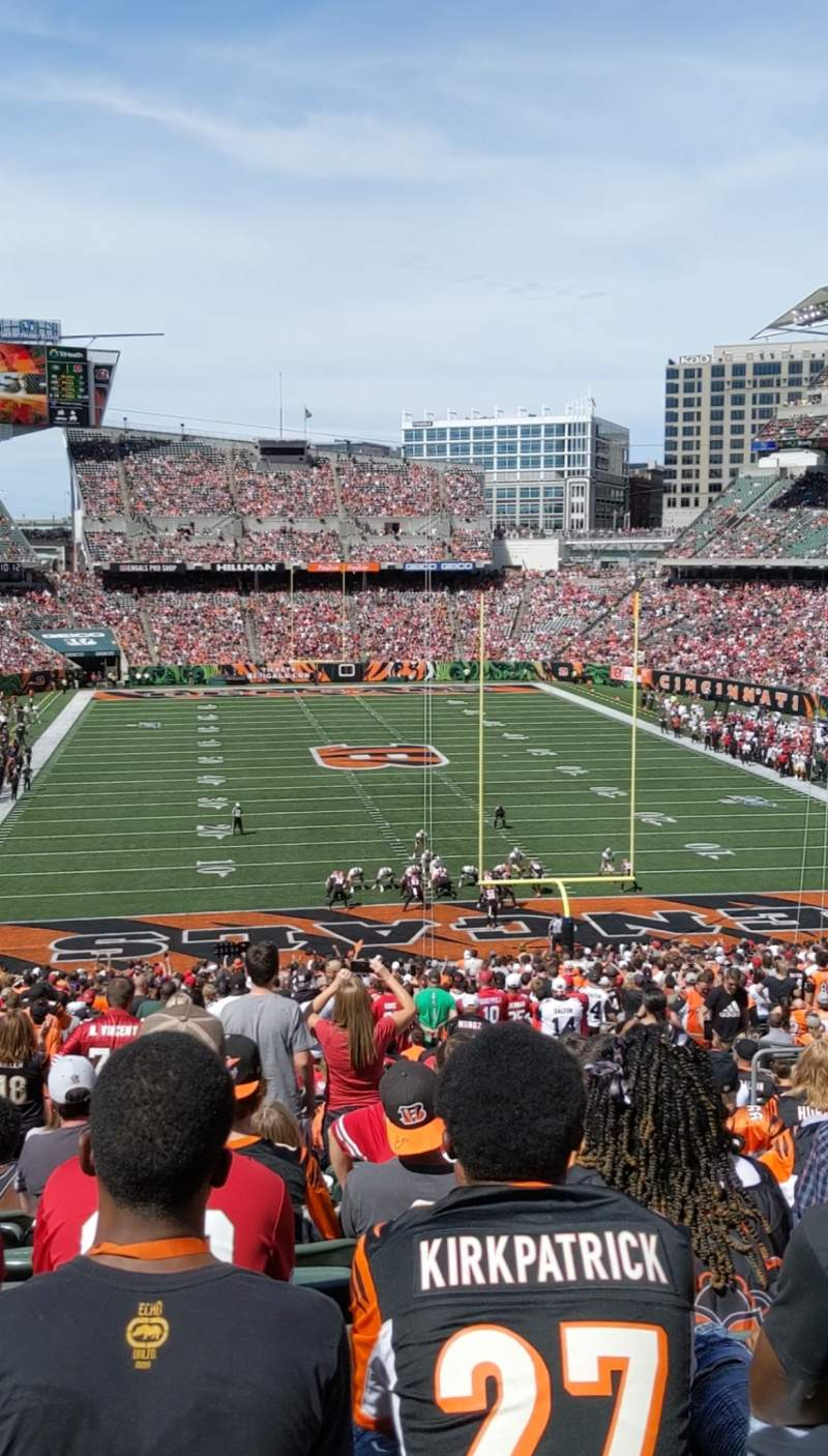Seating view for Paul Brown Stadium Section 156 Row 52 Seat 7