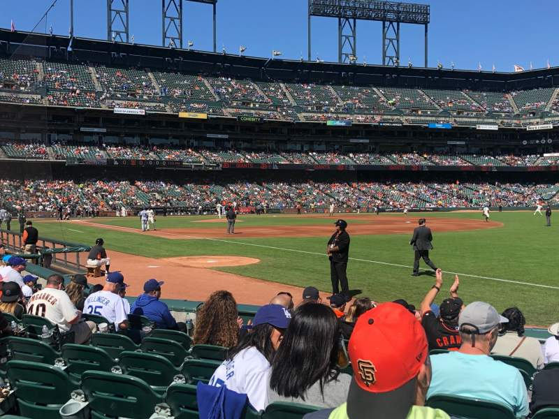 Seating view for Oracle park Section 102 Row 9 Seat 9