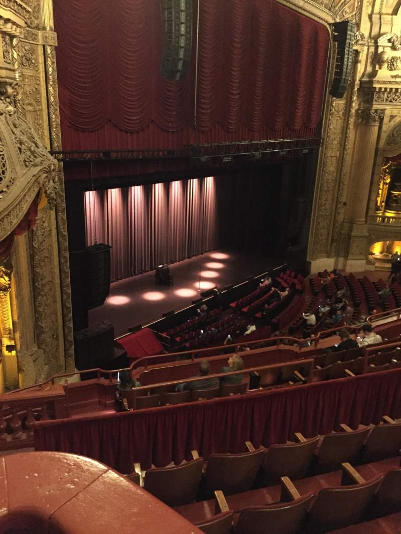 Seating view for Chicago Theatre Section Balcony Box 3 Row A Seat 23-25