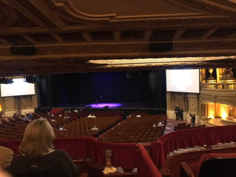 Seating view for Chicago Theatre Section Mezzanine Box H Row H Seat 1-4