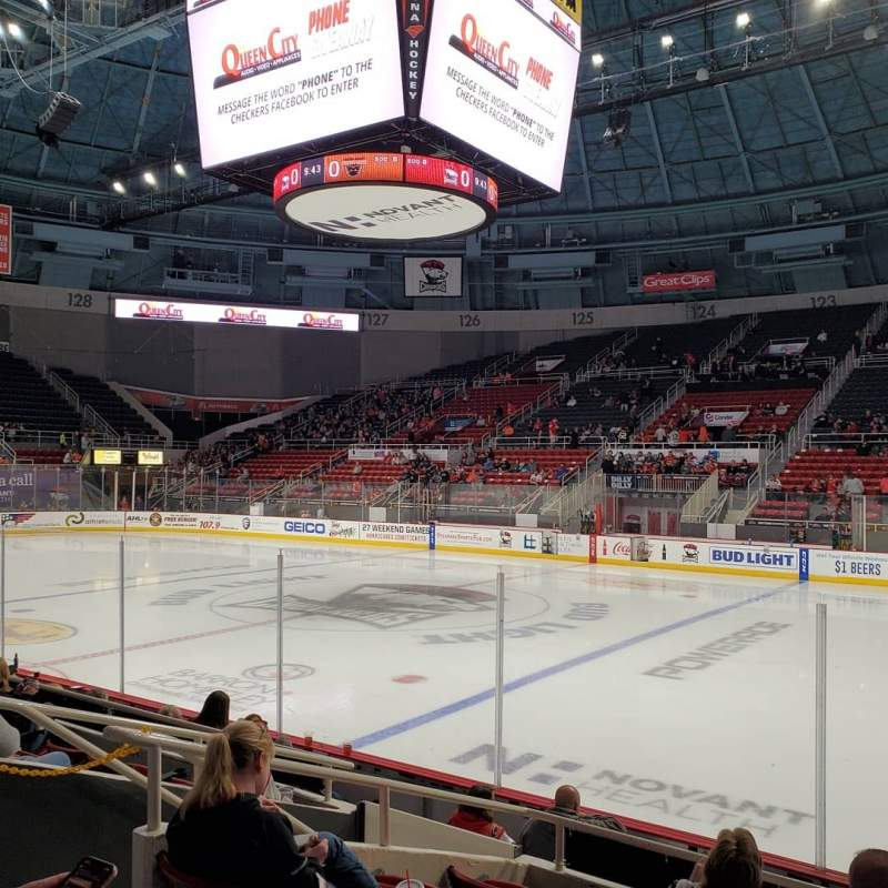 Seating view for Bojangles' Coliseum Section 110 Row F Seat 9