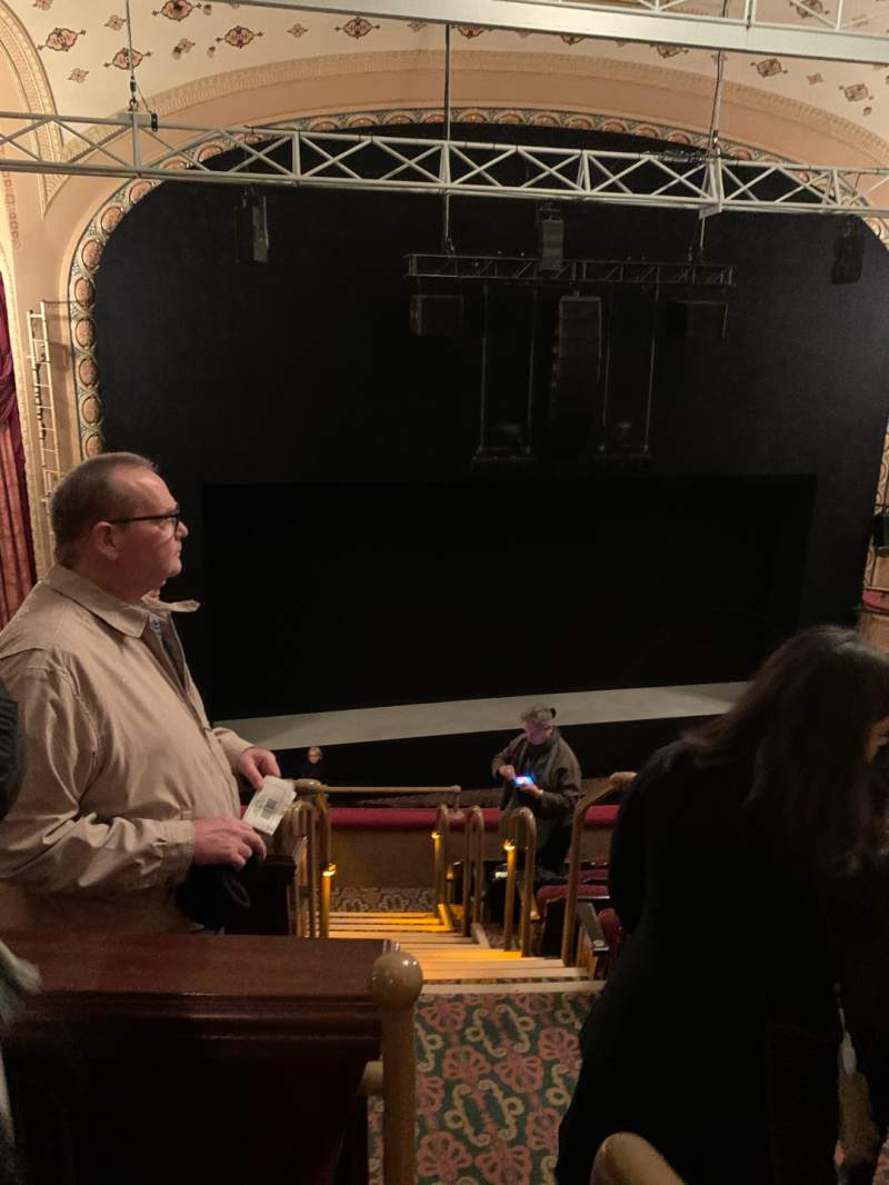 Seating view for Bernard B. Jacobs Theatre Section Mezzanine L Row F Seat 1