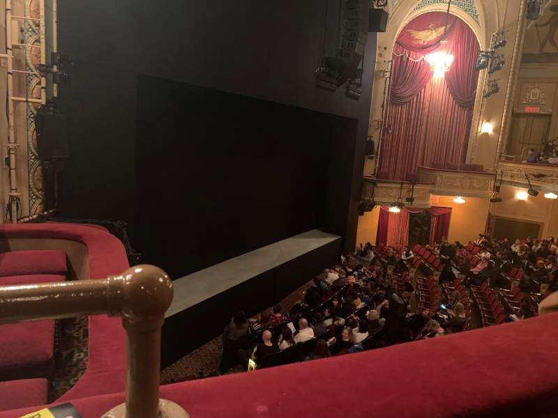 Seating view for Bernard B. Jacobs Theatre Section Mezzanine L Row A Seat 27