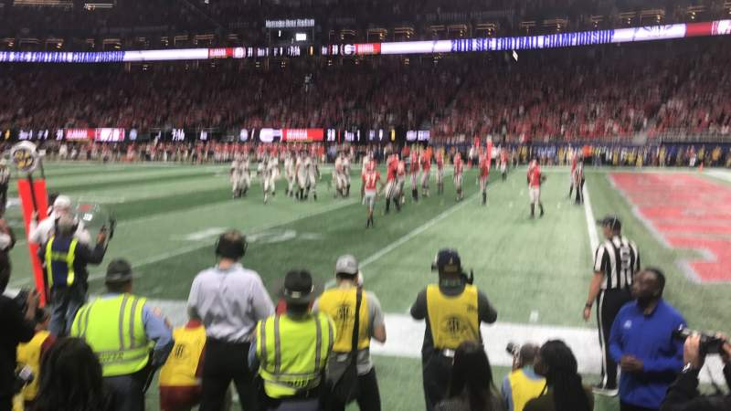 Seating view for Mercedes-Benz Stadium Section 106 Row 1 Seat 1