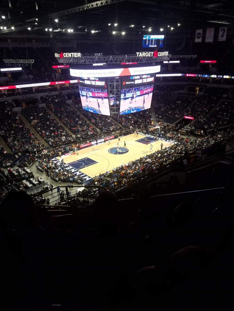 Seating view for Target Center Section 216 Row P Seat 3