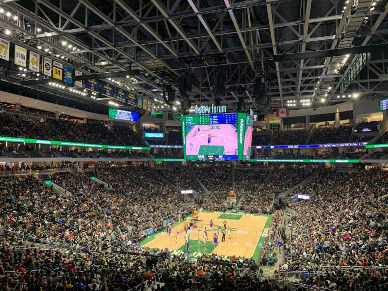 Seating view for Fiserv Forum Section 110 Row 32 Seat 18