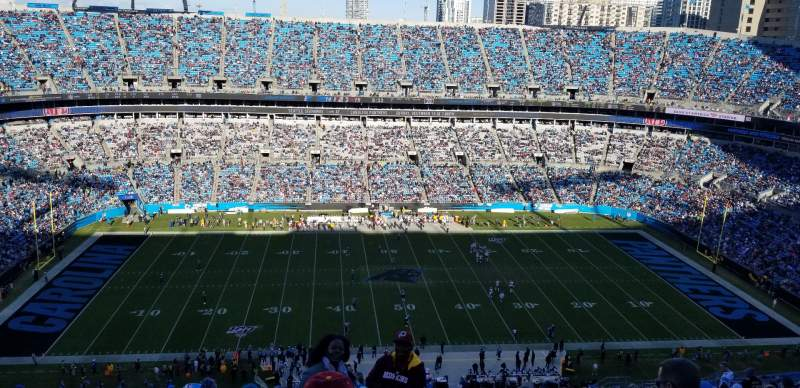 Seating view for Bank of America Stadium Section 543 Row 22 Seat 1