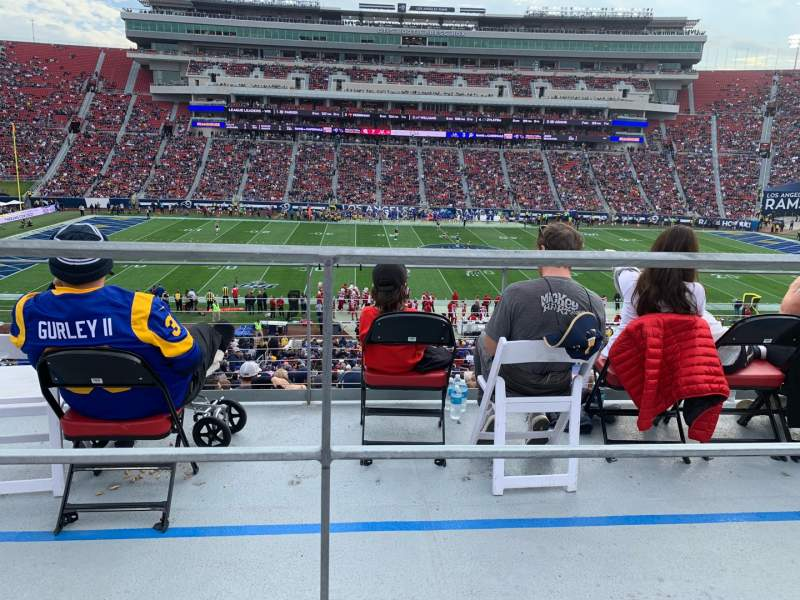 Seating view for Los Angeles Memorial Coliseum Section 222B Row 1 Seat 9