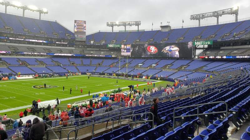 Seating view for M&T Bank Stadium Section 103 Row 35 Seat 12