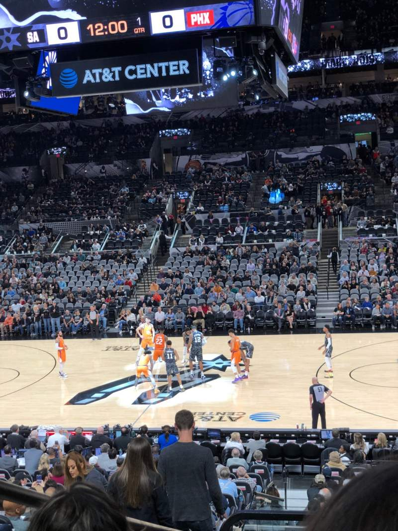 Seating view for AT&T Center Section 107 Row 25 Seat 1