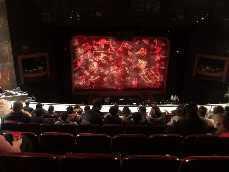 Seating view for Minskoff Theatre Section Mezzanine Row H Seat 119