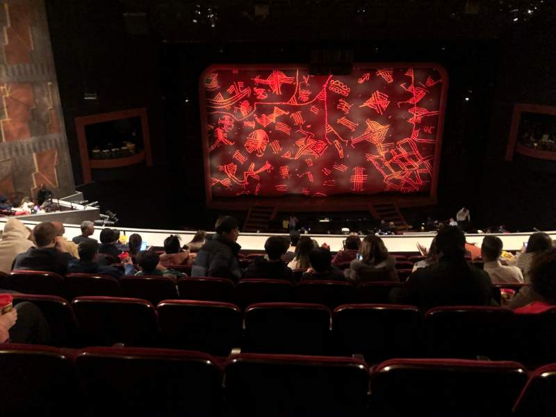 Seating view for Minskoff Theatre Section Mezzanine Row H Seat 120