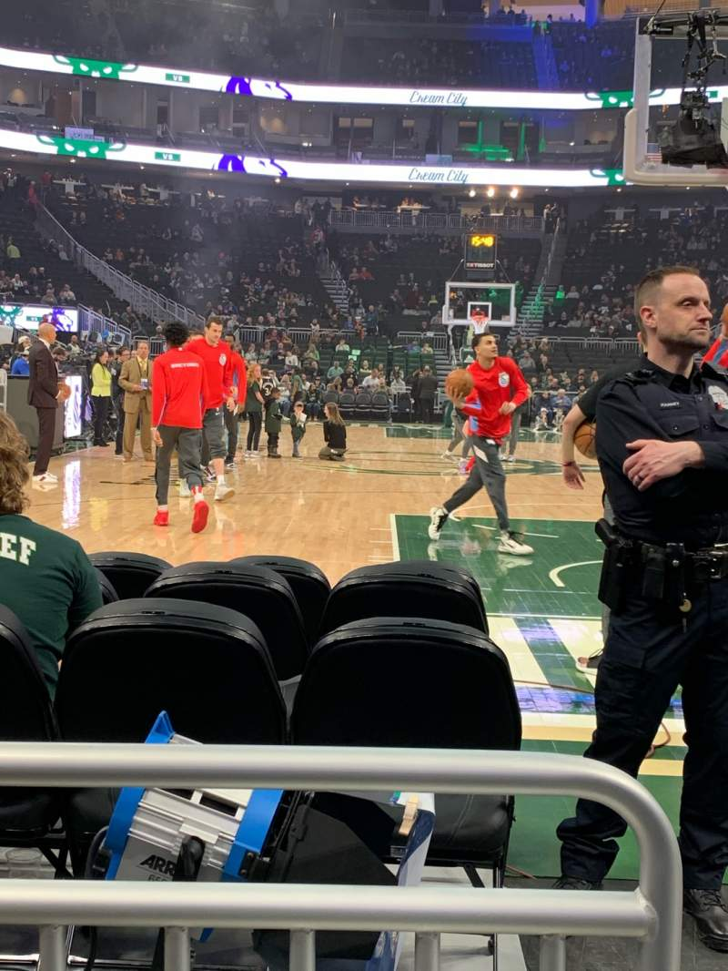 Seating view for Fiserv Forum Section 111 Row 2 Seat 20