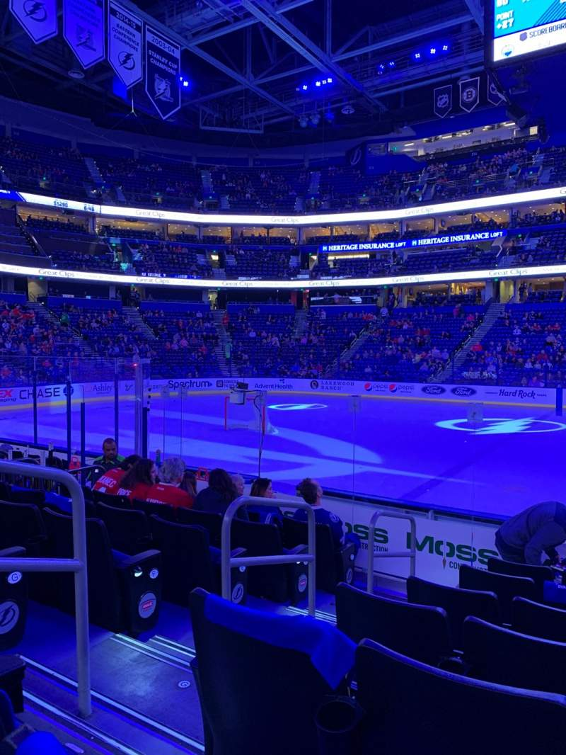 Seating view for Amalie Arena Section 101 Row J Seat 16