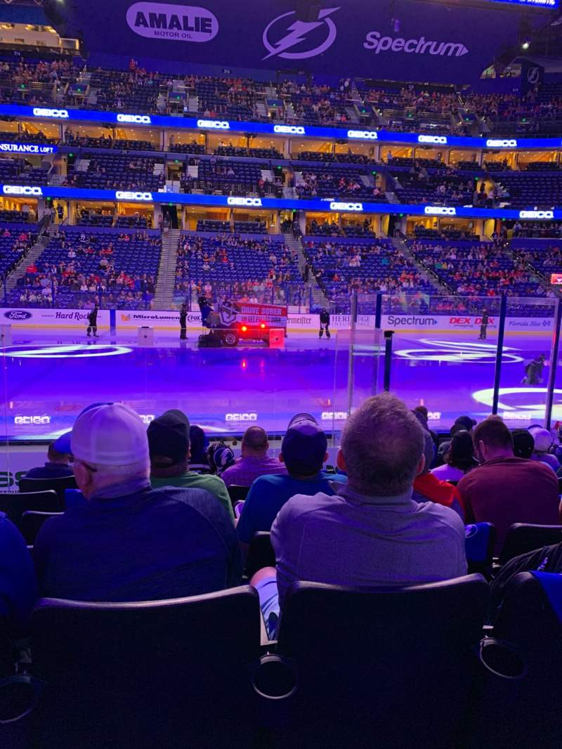 Seating view for Amalie Arena Section 101 Row J Seat 15