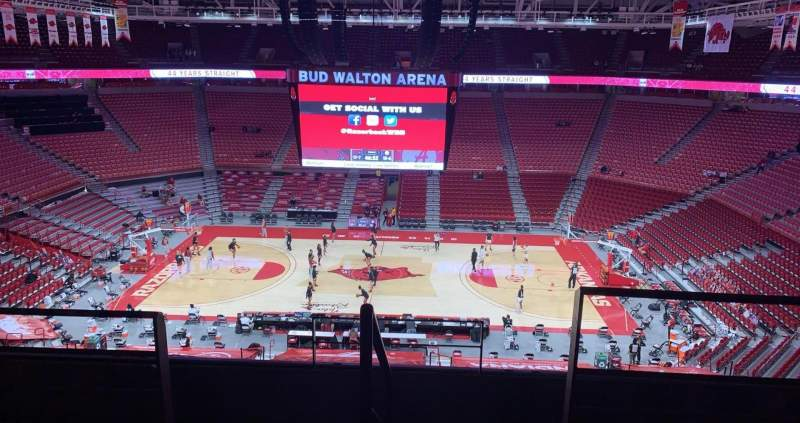 Seating view for Bud Walton Arena Section 218 Row 5 Seat 104