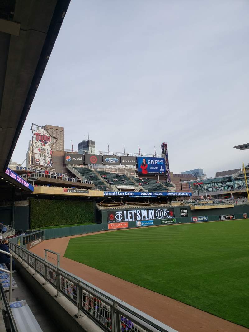 Seating view for Target Field Section 128 Row 2 Seat 22-23