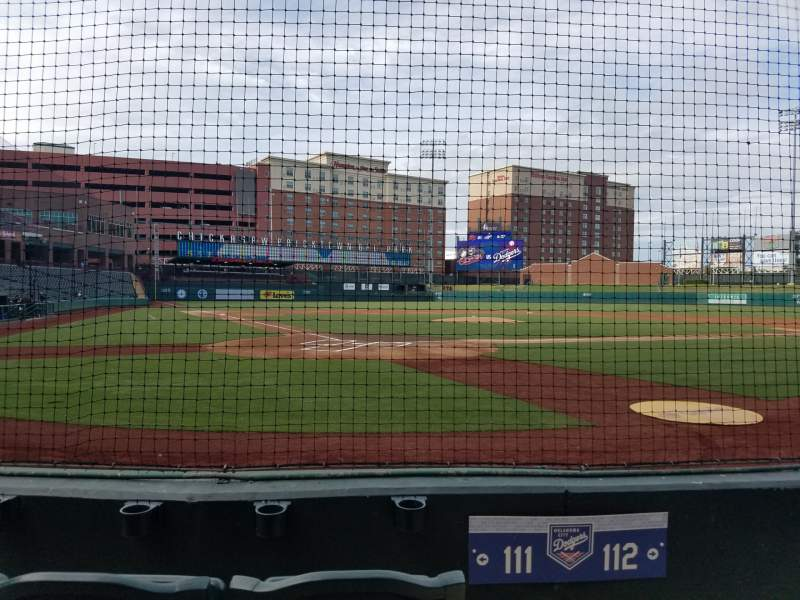 Seating view for Chickasaw Bricktown Ballpark Section 111 Row D Seat 1