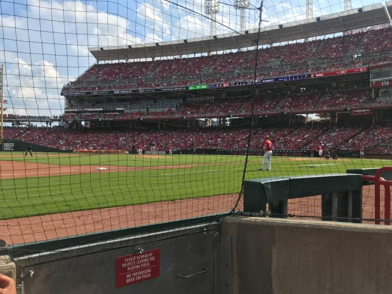 Seating view for Great American Ball Park Section 114 Row B Seat 1
