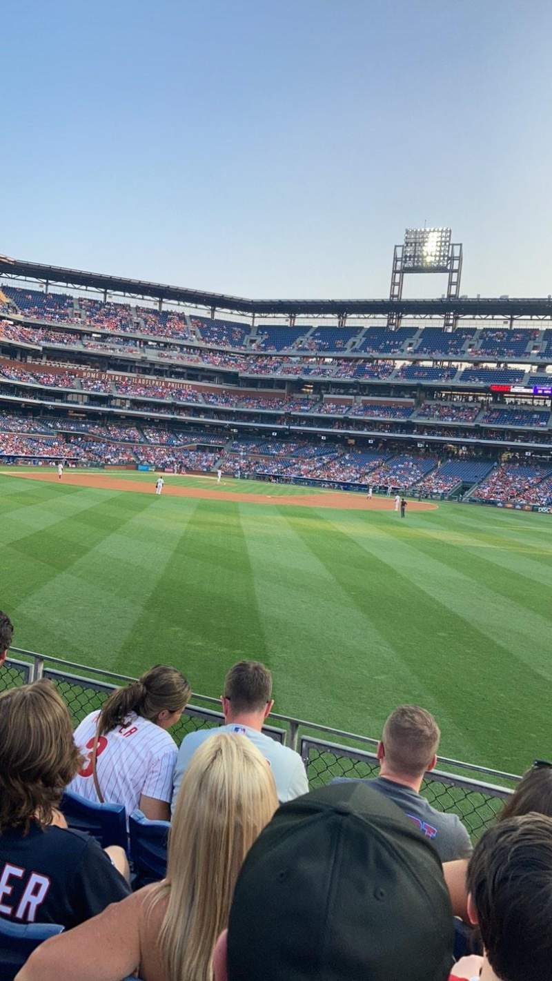 Seating view for Citizens Bank Park Section 101 Row 4 Seat 7
