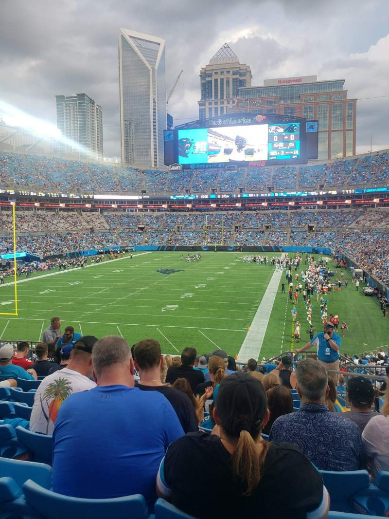 Seating view for Bank of America Stadium Section 255 Row 10 Seat 3