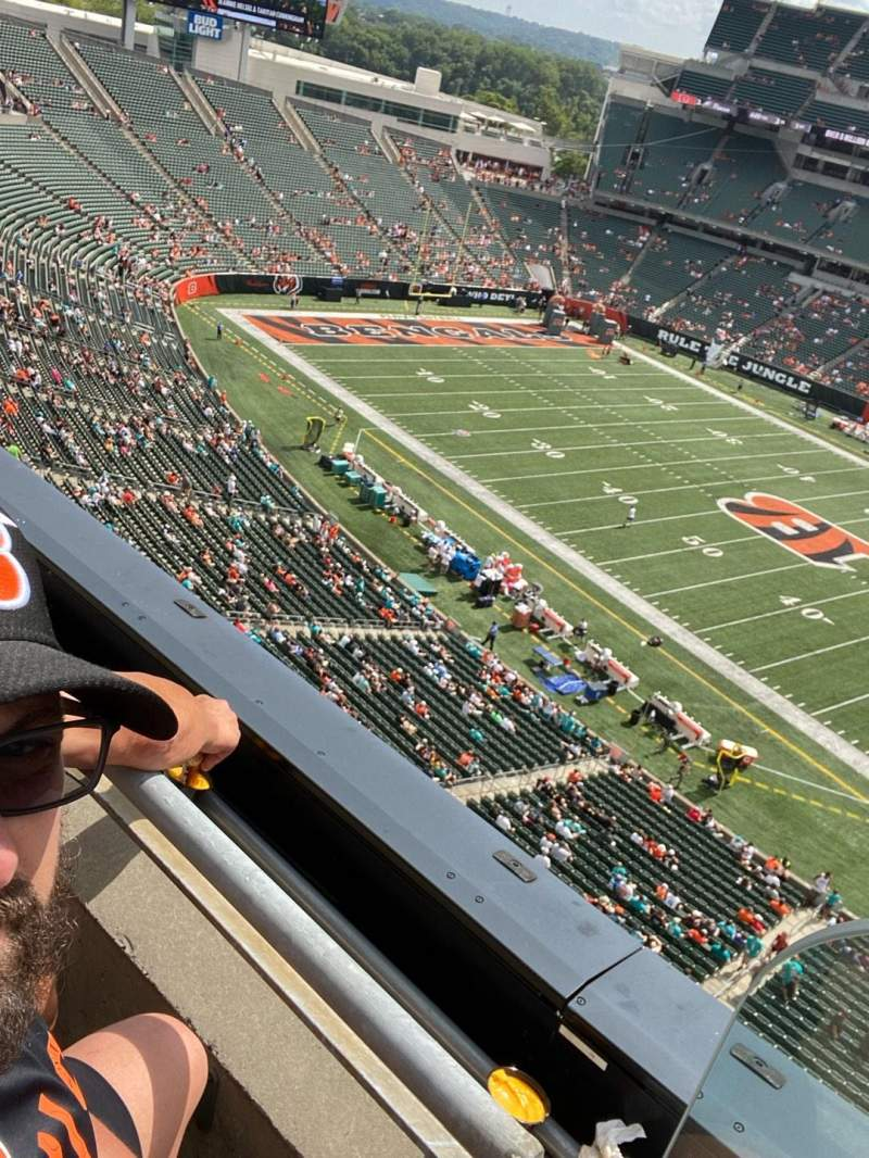 Seating view for Paul Brown Stadium Section 337 Row 1 Seat 1