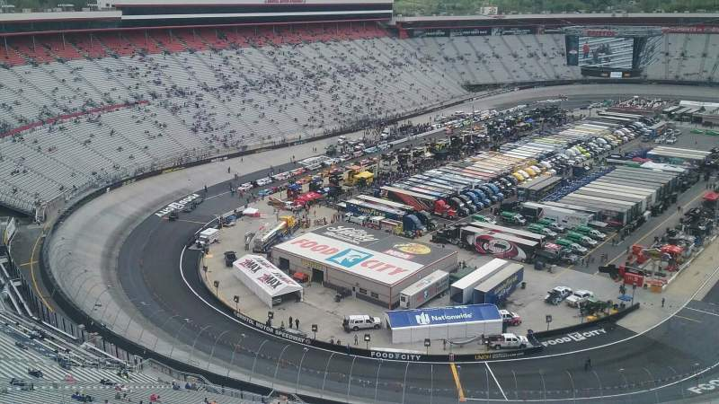 Bristol Motor Speedway, section Wallace Tower C, row 1, seat 1 - Food City 500 turn: 2, shared by aricpelt