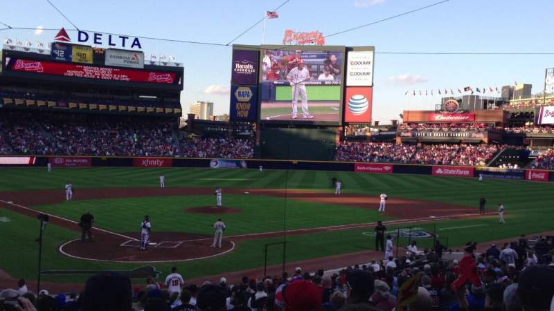 Seating view for Turner Field Section 105 Row 23 Seat 108