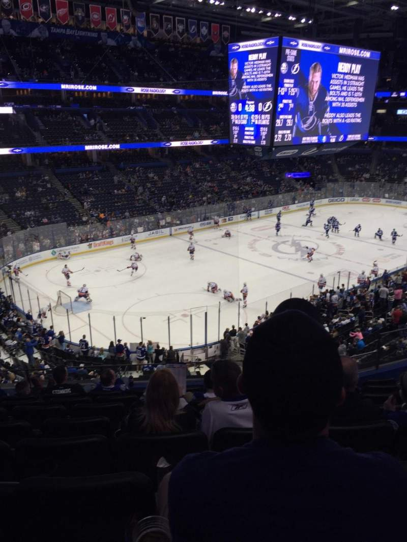 Seating view for Amalie Arena Section 205 Row H Seat 6