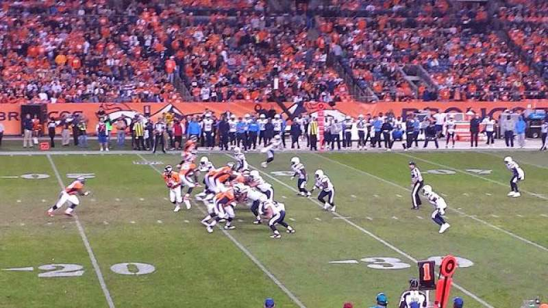 Seating view for Invesco Field at Mile High Section 107 Row 20 Seat 22