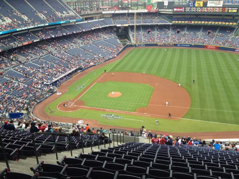 Seating view for Turner Field Section 413 Row 26 Seat 3