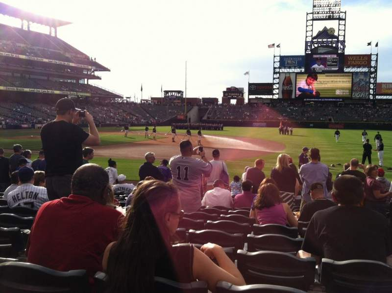 Seating view for Coors Field Section 120 Row 12 Seat 1