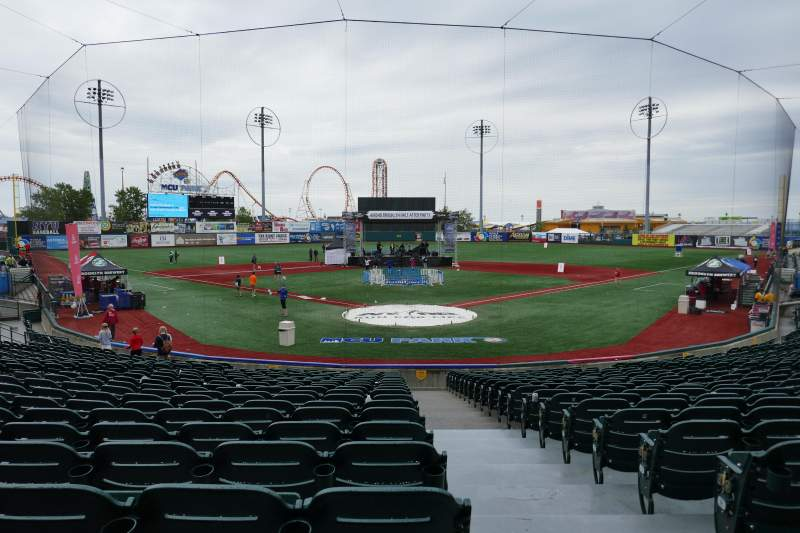 Seating view for MCU Park Section 1 Row S Seat 1