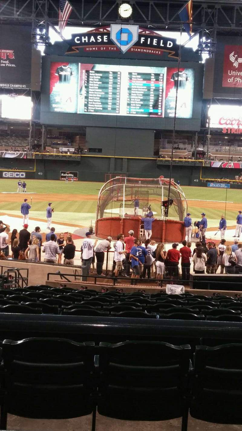 Seating view for Chase Field Section 122 Row 22 Seat 12