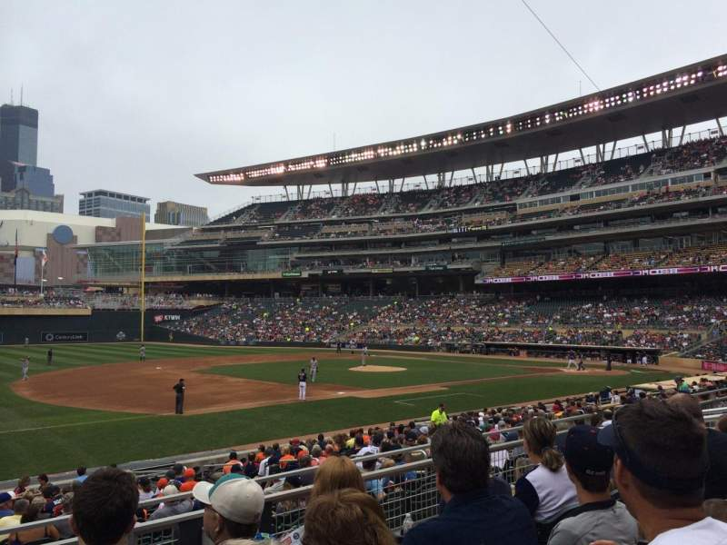 Seating view for Target Field Section 122 Row 4 Seat 12