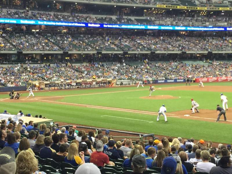 Seating view for Miller Park Section 111 Row 22 Seat 17