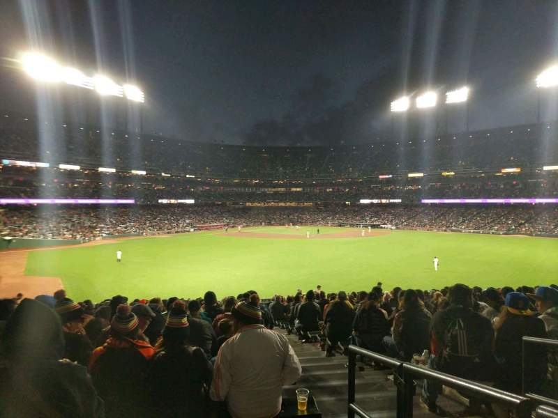 Seating view for Oracle Park Section 144 Row 33 Seat 2